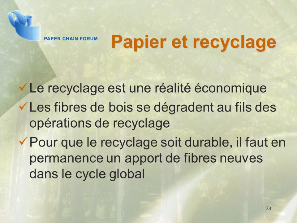 24 Papier et recyclage Le recyclage est une réalité économique Les fibres de bois se dégradent au fils des opérations de recyclage Pour que le recycla
