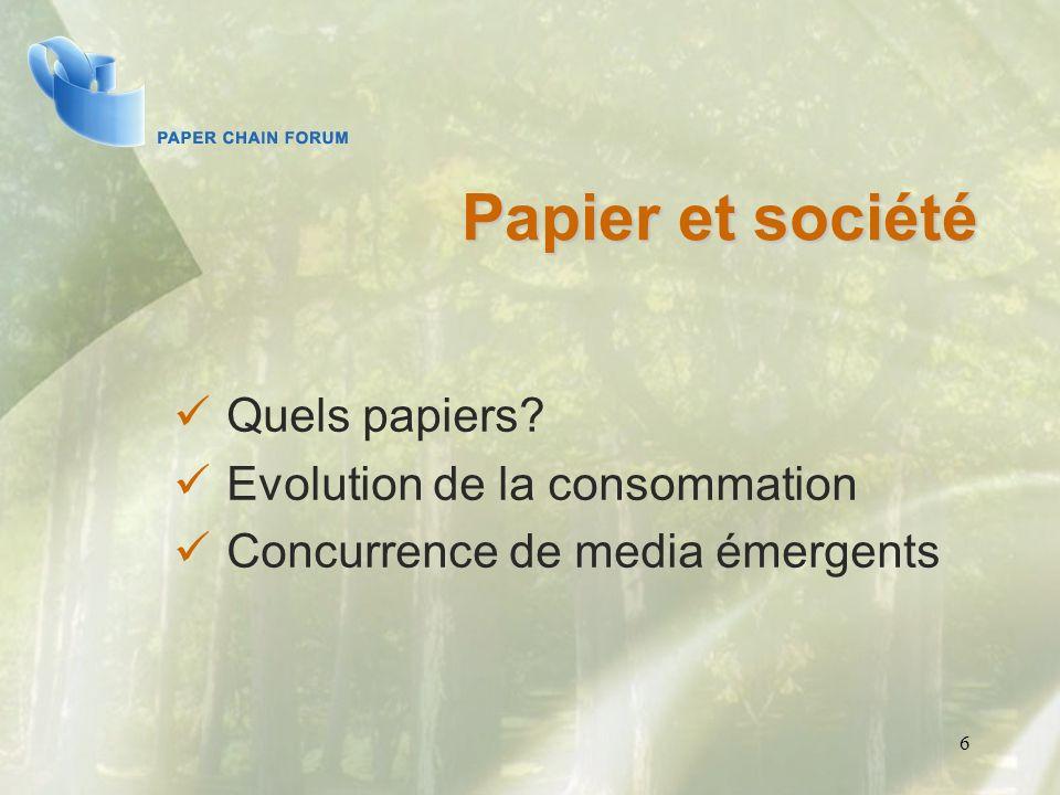 Papier et société Quels papiers? Evolution de la consommation Concurrence de media émergents 6