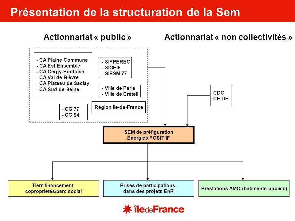 Situation du premier tour de table de la Sem et perspectives Capital en kRépartition du capital en % Part collectivité4,523585% Région Ile-de-France3,0257% Ville de Paris0,59% SIGEIF0,010% SIESM 770,031% SIPPEREC0,12% CA Plaine Commune0,0451% CA Est Ensemble0,12% CA Cergy Pontoise0,051% CA Plateau de Saclay0,010% CA Val de Bièvre0,051% CG 940,458% CA Sud-de-Seine0,0361% Ville de Créteil0,02250% CG 770,12% Part non collectivité0,815% Caisse des Dépôts et Consignations0,59% Caisse d Epargne dIle-de-France0,36% Total SEM5,3235100%
