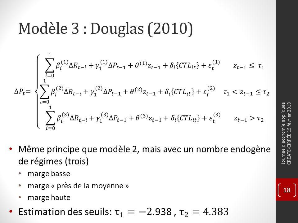 Modèle 3 : Douglas (2010) Journée d économie appliquée CREATE-CIRPÉE 15 février 2013 18