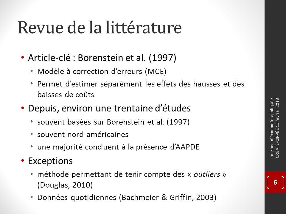 Revue de la littérature Article-clé : Borenstein et al.