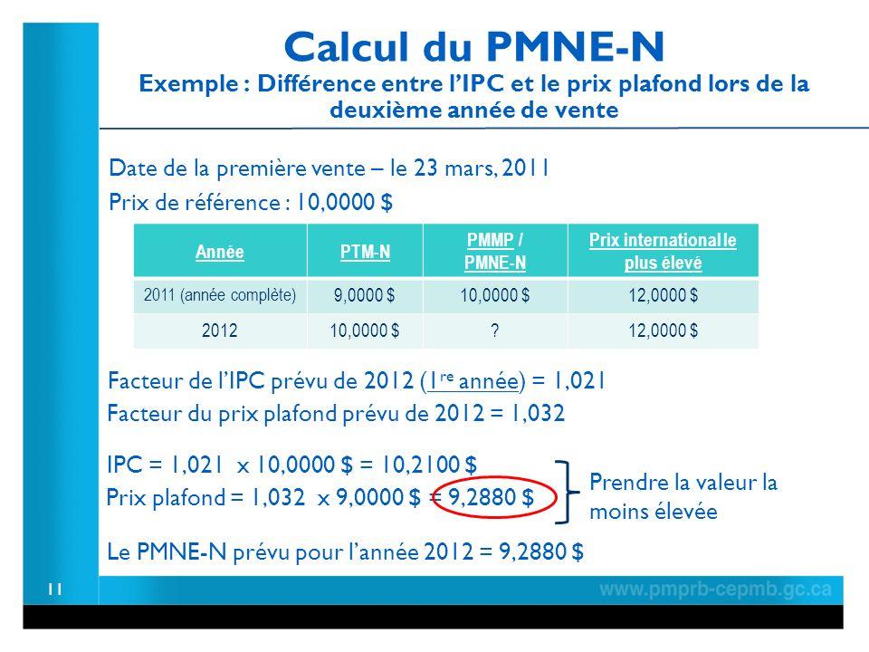 Calcul du PMNE-N Exemple : Différence entre lIPC et le prix plafond lors de la deuxième année de vente 11 Facteur de lIPC prévu de 2012 (1 re année) = 1,021 IPC = 1,021 x 10,0000 $ = 10,2100 $ Prix plafond = 1,032 x 9,0000 $ = 9,2880 $ Prendre la valeur la moins élevée Le PMNE-N prévu pour lannée 2012 = 9,2880 $ Facteur du prix plafond prévu de 2012 = 1,032 AnnéePTM-N PMMP / PMNE-N Prix international le plus élevé 2011 (année complète) 9,0000 $10,0000 $12,0000 $ 201210,0000 $ 12,0000 $ Date de la première vente – le 23 mars, 2011 Prix de référence : 10,0000 $