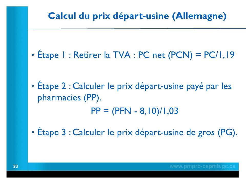 20 Étape 1 : Retirer la TVA : PC net (PCN) = PC/1,19 Calcul du prix départ-usine (Allemagne) Étape 2 : Calculer le prix départ-usine payé par les pharmacies (PP).