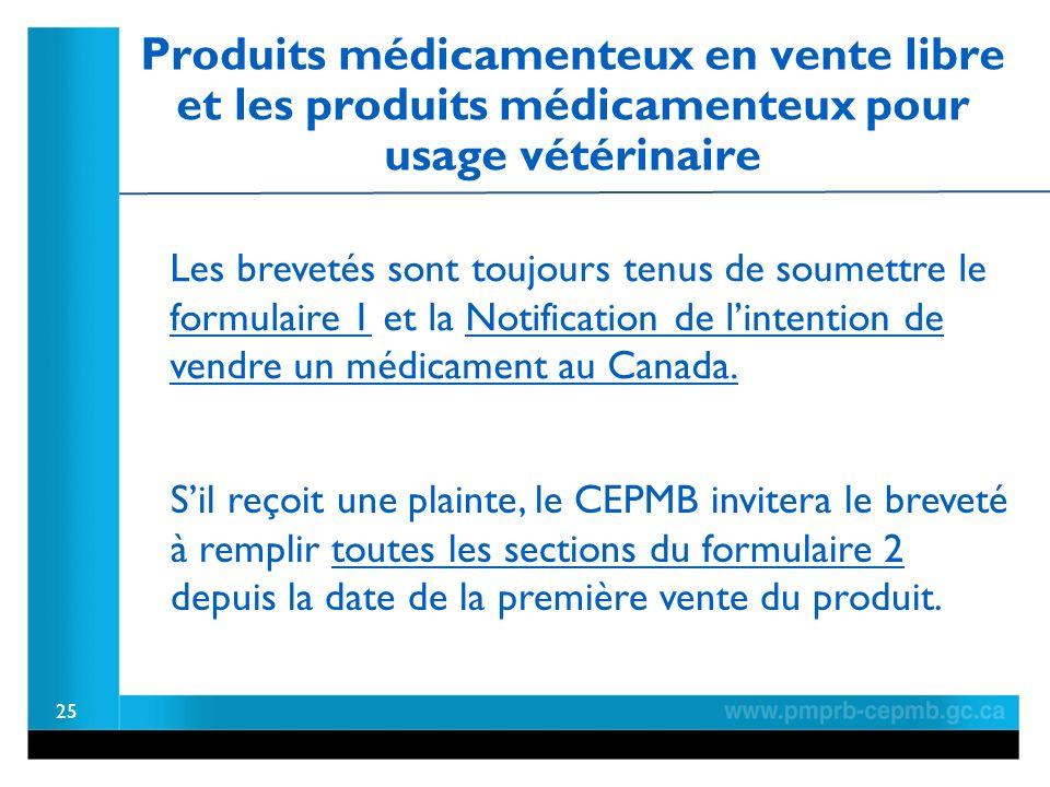 Produits médicamenteux en vente libre et les produits médicamenteux pour usage vétérinaire 25 Les brevetés sont toujours tenus de soumettre le formulaire 1 et la Notification de lintention de vendre un médicament au Canada.