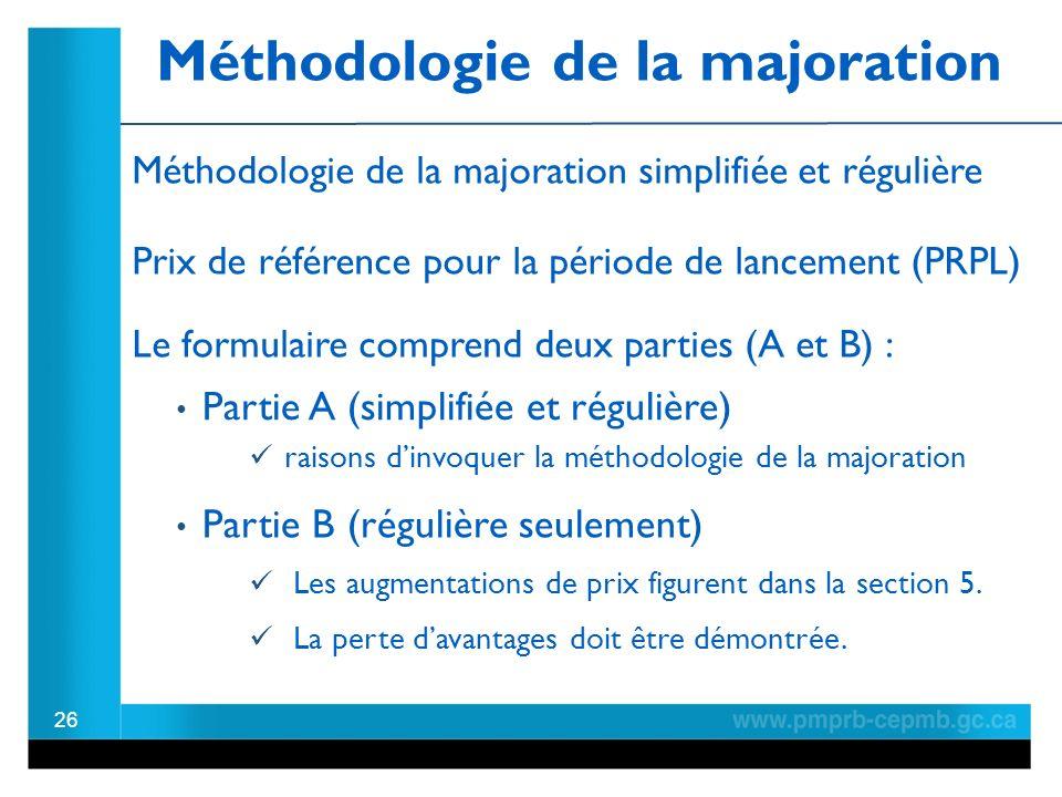 Méthodologie de la majoration 26 Prix de référence pour la période de lancement (PRPL) La perte davantages doit être démontrée.