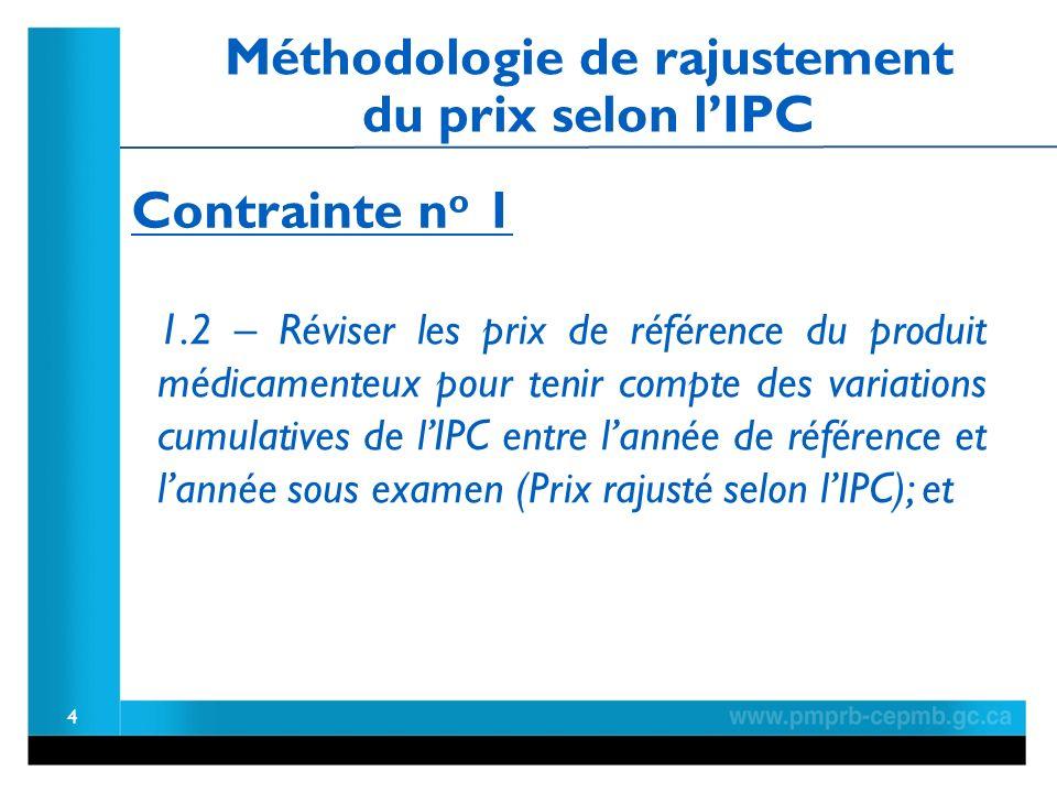 4 1.2 – Réviser les prix de référence du produit médicamenteux pour tenir compte des variations cumulatives de lIPC entre lannée de référence et lannée sous examen (Prix rajusté selon lIPC); et Contrainte n o 1 Méthodologie de rajustement du prix selon lIPC