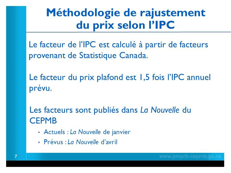 7 Le facteur de lIPC est calculé à partir de facteurs provenant de Statistique Canada.