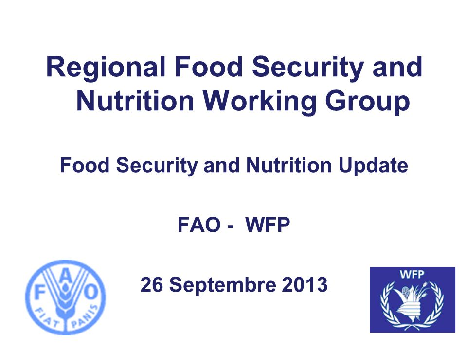 Regional Food Security and Nutrition Working Group Food Security and Nutrition Update FAO - WFP 26 Septembre 2013