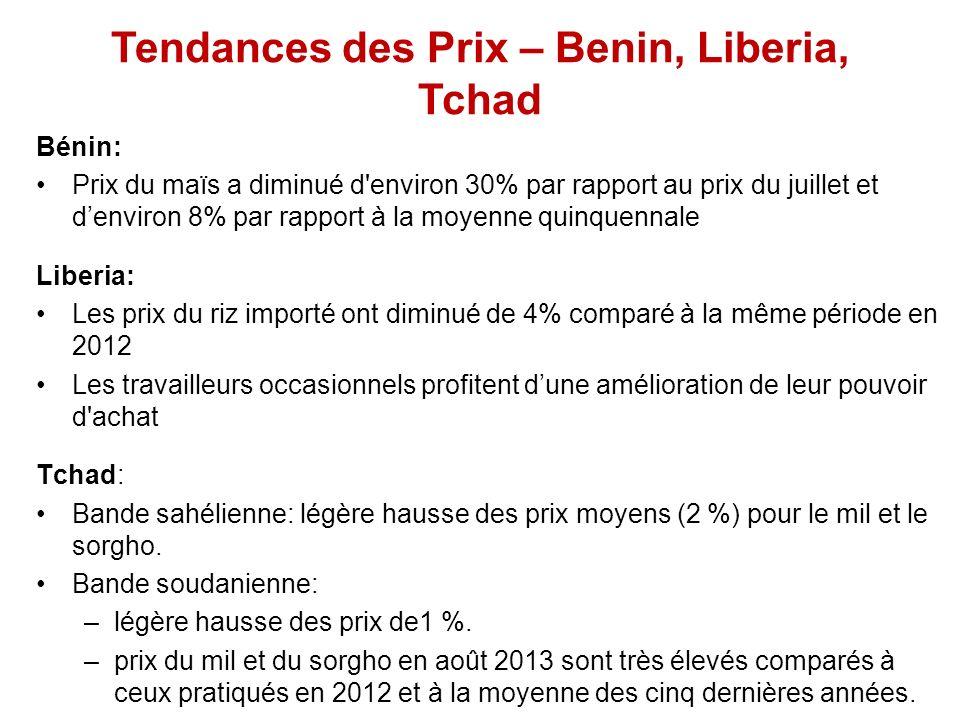 Tendances des Prix – Benin, Liberia, Tchad Bénin: Prix du maïs a diminué d environ 30% par rapport au prix du juillet et denviron 8% par rapport à la moyenne quinquennale Liberia: Les prix du riz importé ont diminué de 4% comparé à la même période en 2012 Les travailleurs occasionnels profitent dune amélioration de leur pouvoir d achat Tchad: Bande sahélienne: légère hausse des prix moyens (2 %) pour le mil et le sorgho.