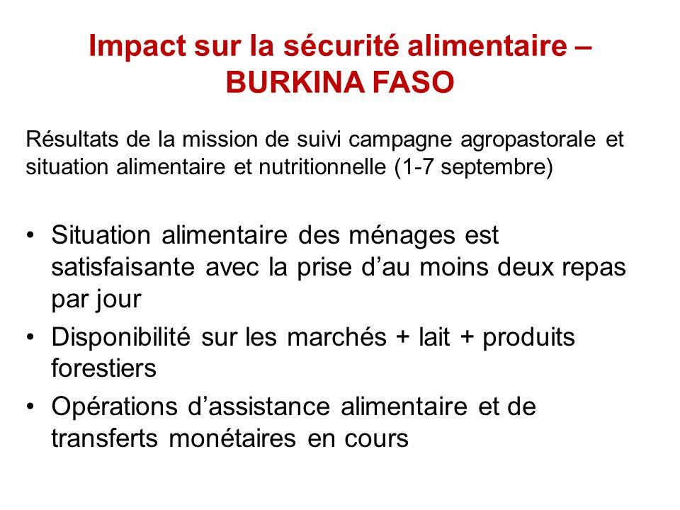 Impact sur la sécurité alimentaire – BURKINA FASO Résultats de la mission de suivi campagne agropastorale et situation alimentaire et nutritionnelle (