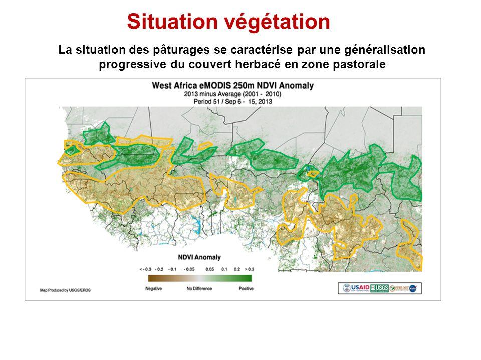 Situation végétation La situation des pâturages se caractérise par une généralisation progressive du couvert herbacé en zone pastorale