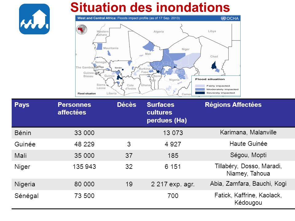 Situation des inondations PaysPersonnes affectées DécèsSurfaces cultures perdues (Ha) Régions Affectées Bénin33 00013 073 Karimana, Malanville Guinée48 22934 927 Haute Guinée Mali35 00037185 Ségou, Mopti Niger135 943326 151 Tillabéry, Dosso, Maradi, Niamey, Tahoua Nigeria80 000192 217 exp.