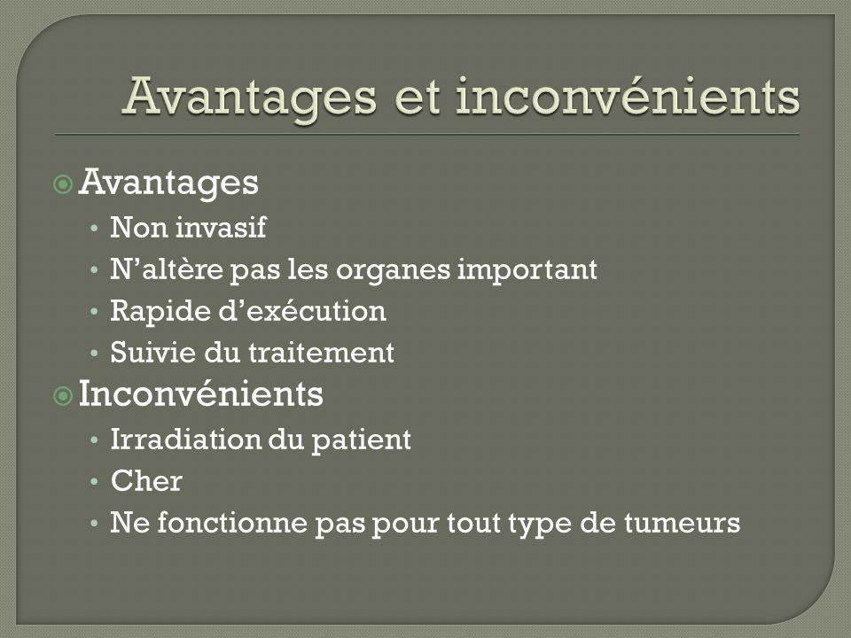 Avantages Non invasif Naltère pas les organes important Rapide dexécution Suivie du traitement Inconvénients Irradiation du patient Cher Ne fonctionne