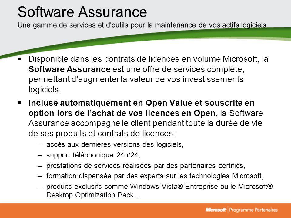 Disponible dans les contrats de licences en volume Microsoft, la Software Assurance est une offre de services complète, permettant daugmenter la valeu