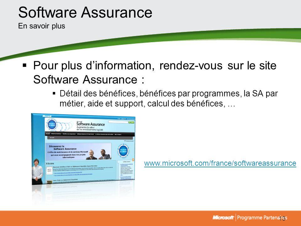 Pour plus dinformation, rendez-vous sur le site Software Assurance : Détail des bénéfices, bénéfices par programmes, la SA par métier, aide et support