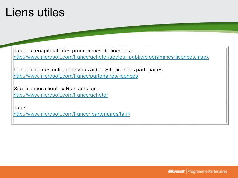 Tableau récapitulatif des programmes de licences: http://www.microsoft.com/france/acheter/secteur-public/programmes-licences.mspx Lensemble des outils