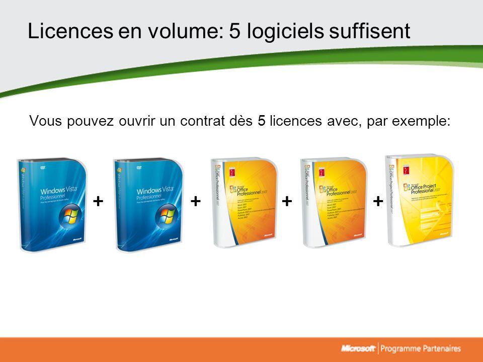 Licences en volume: 5 logiciels suffisent Vous pouvez ouvrir un contrat dès 5 licences avec, par exemple: ++++