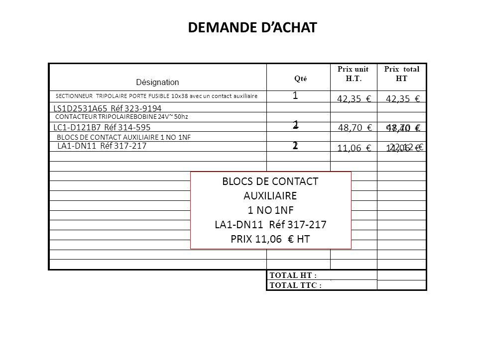 SECTIONNEUR TRIPOLAIRE PORTE FUSIBLE 10x38 avec un contact auxiliaire LS1D2531A65 Réf 323-9194 42,35 1 DEMANDE DACHAT CONTACTEUR TRIPOLAIRE BOBINE 24V