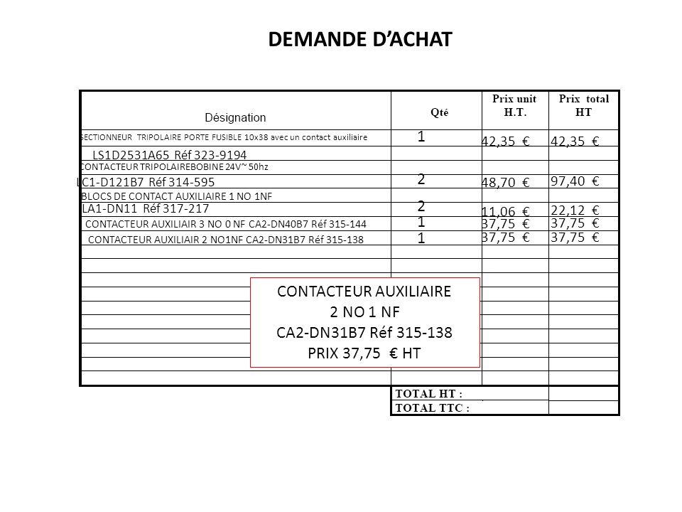 SECTIONNEUR TRIPOLAIRE PORTE FUSIBLE 10x38 avec un contact auxiliaire LS1D2531A65 Réf 323-9194 42,35 1 DEMANDE DACHAT CONTACTEUR TRIPOLAIREBOBINE 24V~