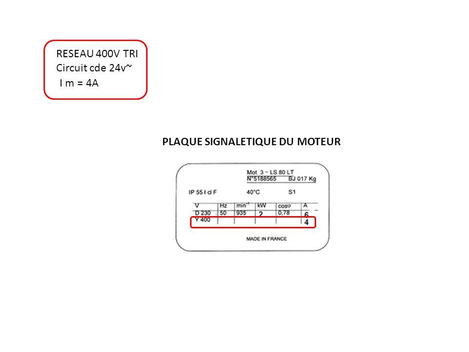 RESEAU 400V TRI Circuit cde 24v~ PLAQUE SIGNALETIQUE DU MOTEUR I m = 4A