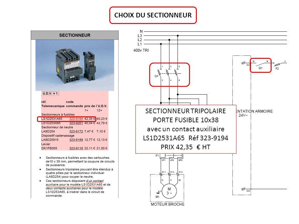 CHOIX DU SECTIONNEUR SECTIONNEUR TRIPOLAIRE PORTE FUSIBLE 10x38 avec un contact auxiliaire LS1D2531A65 Réf 323-9194 PRIX 42,35 HT