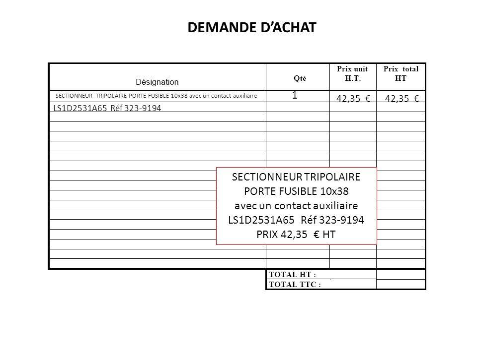 SECTIONNEUR TRIPOLAIRE PORTE FUSIBLE 10x38 avec un contact auxiliaire LS1D2531A65 Réf 323-9194 42,35 1 DEMANDE DACHAT SECTIONNEUR TRIPOLAIRE PORTE FUS