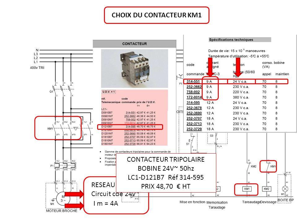 CHOIX DU CONTACTEUR KM1 RESEAU 400V TRI Circuit cde 24v~ I m = 4A CONTACTEUR TRIPOLAIRE BOBINE 24V~ 50hz LC1-D121B7 Réf 314-595 PRIX 48,70 HT