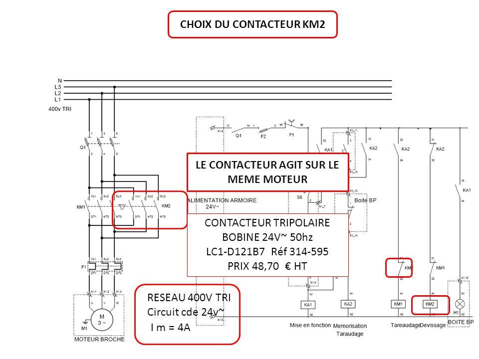 CHOIX DU CONTACTEUR KM2 RESEAU 400V TRI Circuit cde 24v~ I m = 4A CONTACTEUR TRIPOLAIRE BOBINE 24V~ 50hz LC1-D121B7 Réf 314-595 PRIX 48,70 HT LE CONTA