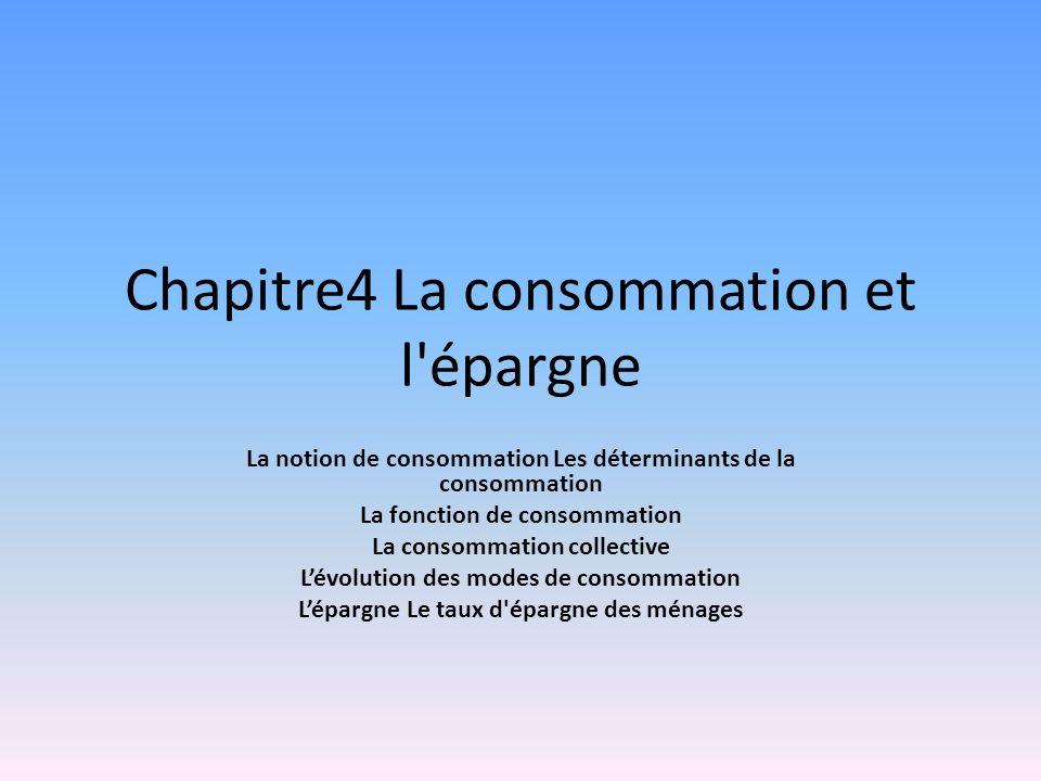 Chapitre4 La consommation et l'épargne La notion de consommation Les déterminants de la consommation La fonction de consommation La consommation colle