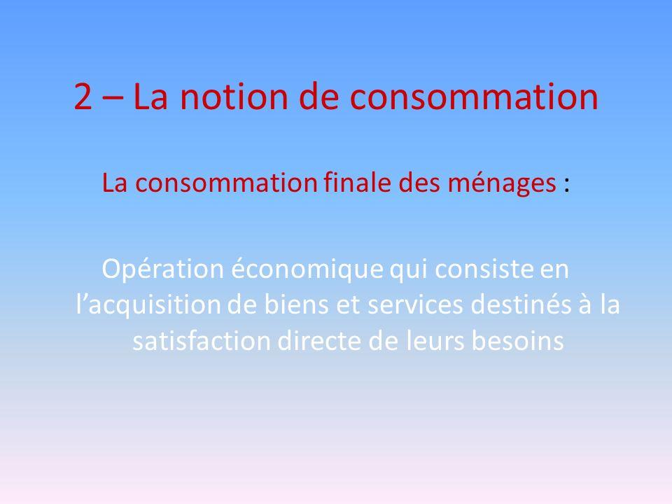 2 – La notion de consommation La consommation finale des ménages : Opération économique qui consiste en lacquisition de biens et services destinés à l