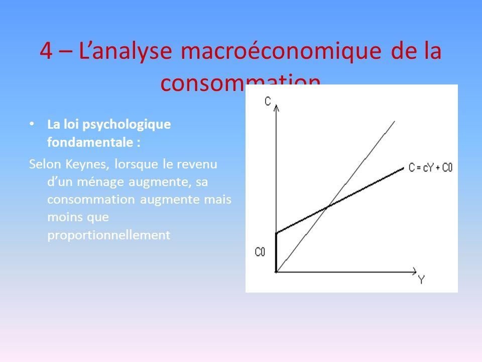 4 – Lanalyse macroéconomique de la consommation La loi psychologique fondamentale : Selon Keynes, lorsque le revenu dun ménage augmente, sa consommati