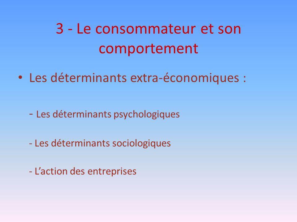 3 - Le consommateur et son comportement Les déterminants extra-économiques : - Les déterminants psychologiques - Les déterminants sociologiques - Lact