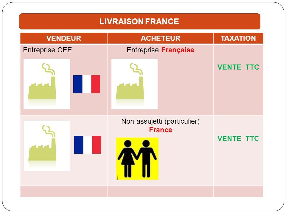 VENDEURACHETEURTAXATION Entreprise CEEEntreprise Française VENTE TTC Non assujetti (particulier) France VENTE TTC LIVRAISON FRANCE