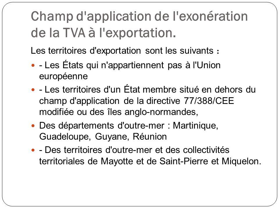 Champ d'application de l'exonération de la TVA à l'exportation. Les territoires d'exportation sont les suivants : - Les États qui n'appartiennent pas