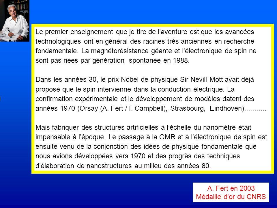 A. Fert en 2003 Médaille dor du CNRS Le premier enseignement que je tire de laventure est que les avancées technologiques ont en général des racines t