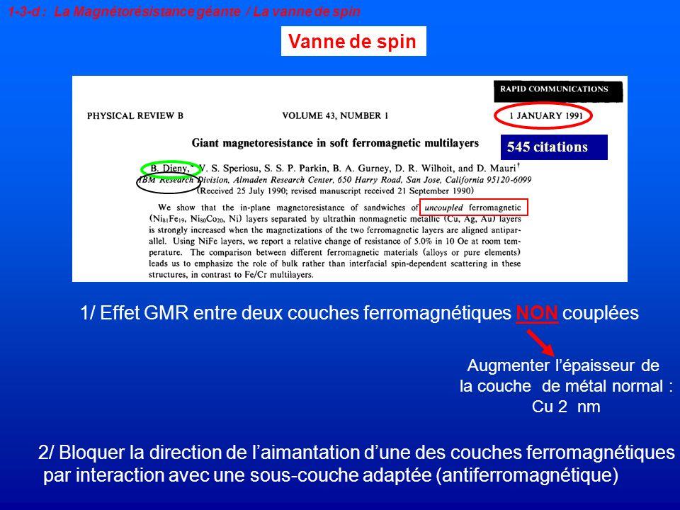 545 citations Vanne de spin 1/ Effet GMR entre deux couches ferromagnétiques NON couplées Augmenter lépaisseur de la couche de métal normal : Cu 2 nm