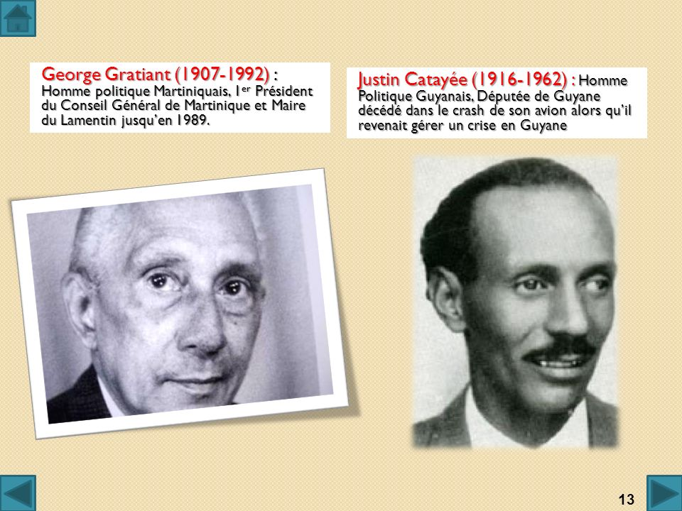 George Gratiant (1907-1992) : Homme politique Martiniquais, 1 er Président du Conseil Général de Martinique et Maire du Lamentin jusquen 1989. Justin