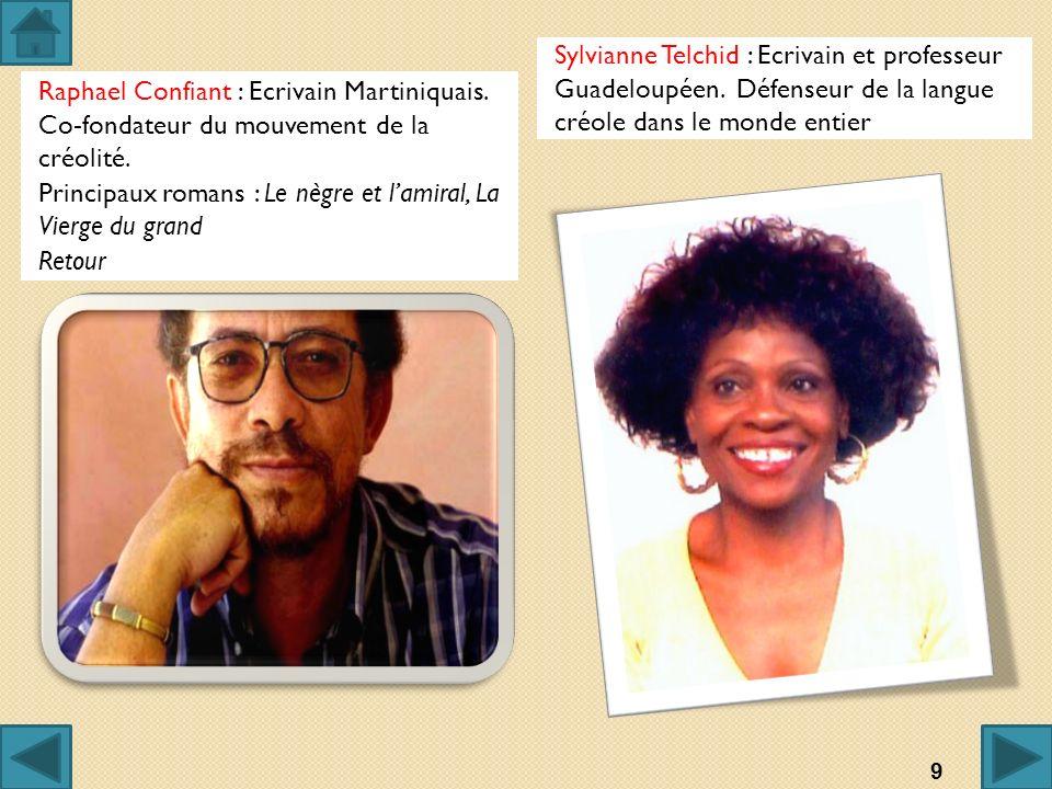 Raphael Confiant : Ecrivain Martiniquais. Co-fondateur du mouvement de la créolité. Principaux romans : Le nègre et lamiral, La Vierge du grand Retour