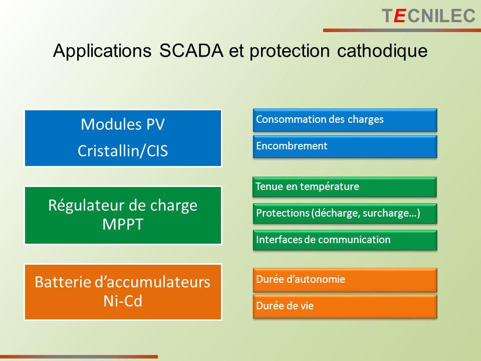 Applications SCADA et protection cathodique Modules PV Cristallin/CIS Régulateur de charge MPPT Batterie daccumulateurs Ni-Cd Consommation des charges