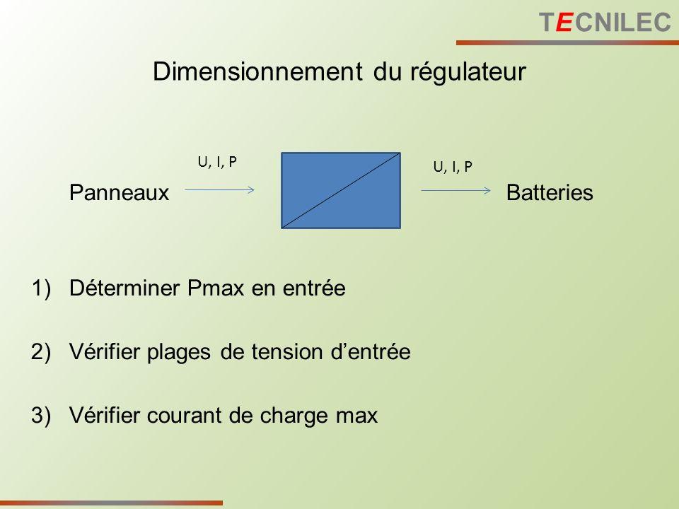 PanneauxBatteries 1)Déterminer Pmax en entrée 2)Vérifier plages de tension dentrée 3)Vérifier courant de charge max Dimensionnement du régulateur U, I