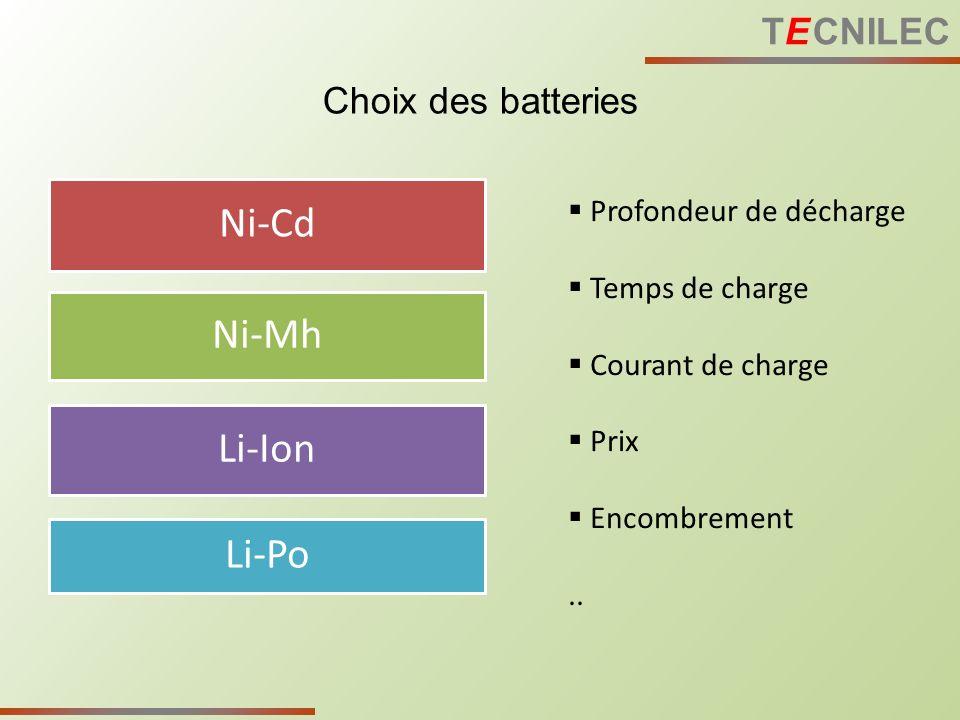 Choix des batteries Ni-Cd Ni-Mh Li-Ion Li-Po Profondeur de décharge Temps de charge Courant de charge Prix Encombrement.. TE CNILEC