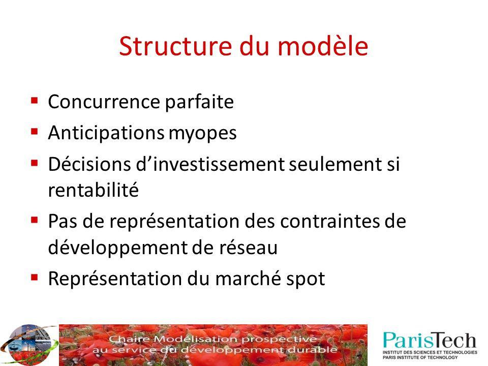 Structure du modèle Concurrence parfaite Anticipations myopes Décisions dinvestissement seulement si rentabilité Pas de représentation des contraintes