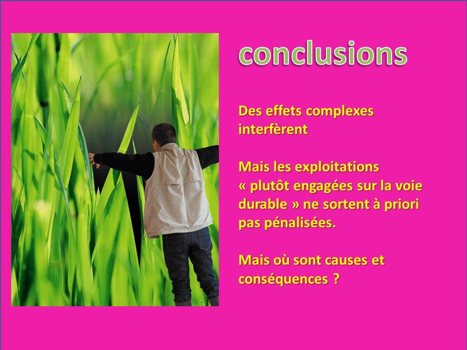 Des effets complexes interfèrent Mais les exploitations « plutôt engagées sur la voie durable » ne sortent à priori pas pénalisées. Mais où sont cause