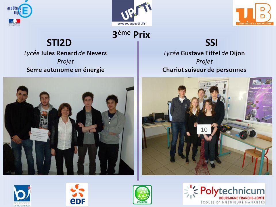 3 ème Prix STI2DSSI Lycée Jules Renard de Nevers Projet Serre autonome en énergie Lycée Gustave Eiffel de Dijon Projet Chariot suiveur de personnes