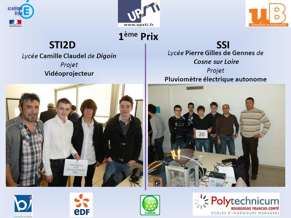 1 ème Prix STI2DSSI Lycée Camille Claudel de Digoin Projet Vidéoprojecteur Lycée Pierre Gilles de Gennes de Cosne sur Loire Projet Pluviomètre électrique autonome