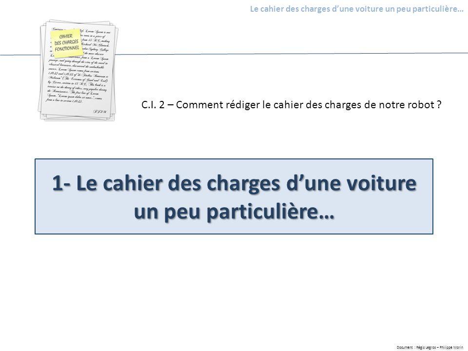 Document : Régis Legros – Philippe Morin Le cahier des charges dune voiture un peu particulière… 1- Le cahier des charges dune voiture un peu particul