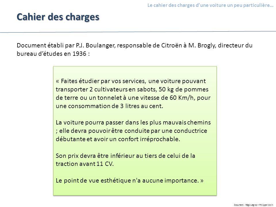 Document : Régis Legros – Philippe Morin Le cahier des charges dune voiture un peu particulière… A quel besoin devait répondre cette voiture .