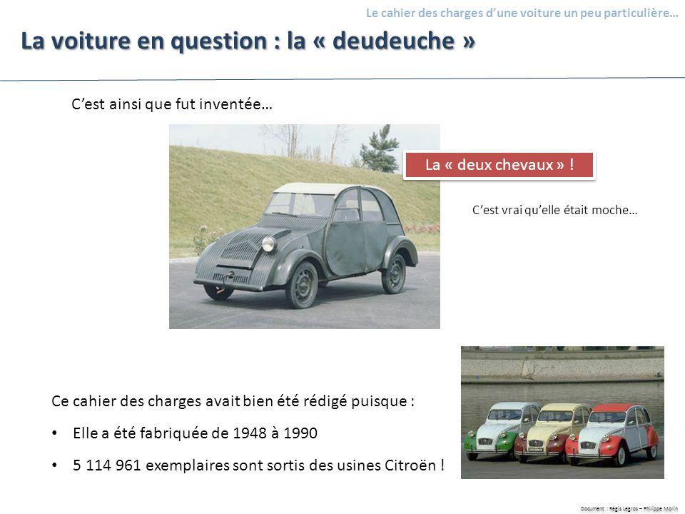 Document : Régis Legros – Philippe Morin Le cahier des charges dune voiture un peu particulière… La voiture en question : la « deudeuche » Cest ainsi