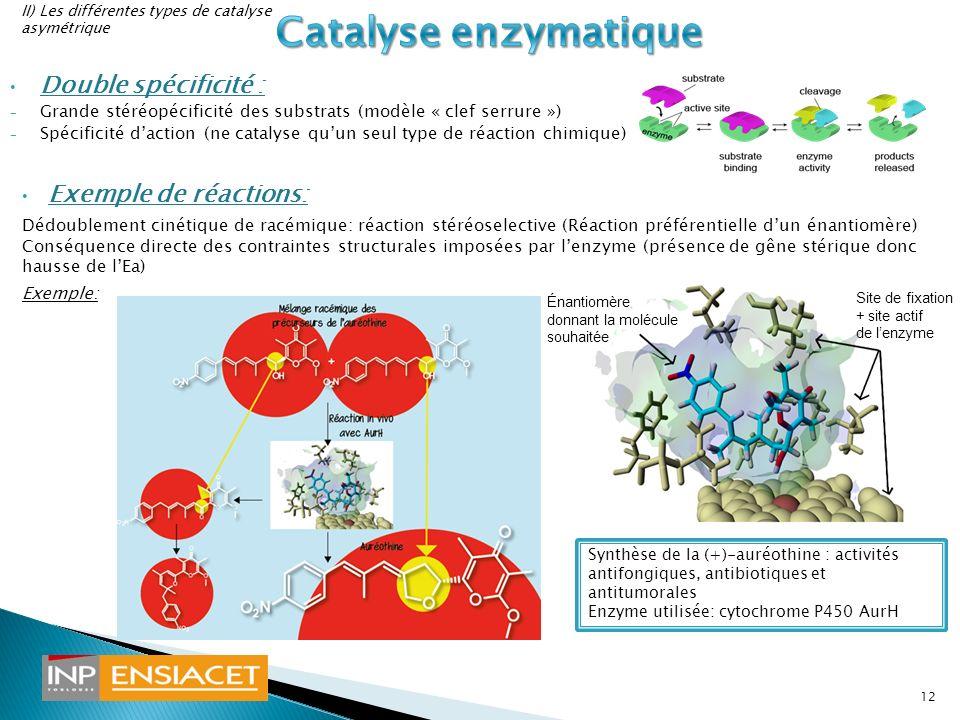 Double spécificité : - Grande stéréopécificité des substrats (modèle « clef serrure ») - Spécificité daction (ne catalyse quun seul type de réaction c