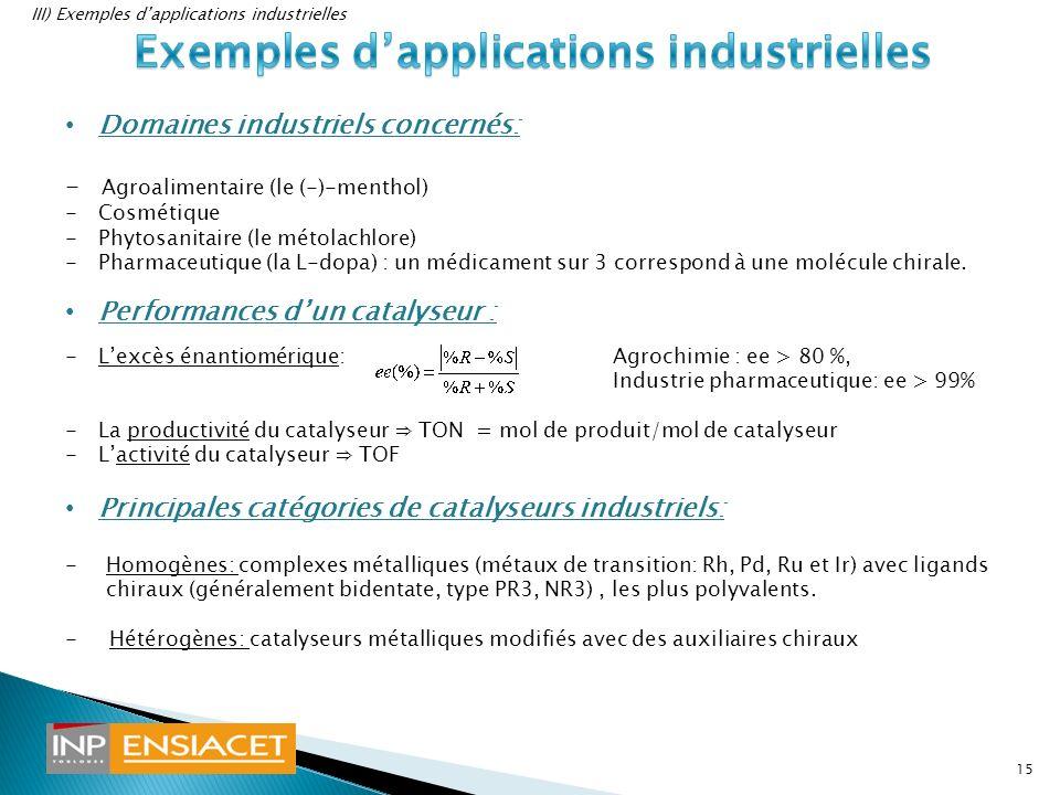 Domaines industriels concernés: - Agroalimentaire (le (-)-menthol) -Cosmétique -Phytosanitaire (le métolachlore) -Pharmaceutique (la L-dopa) : un médi